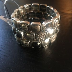 Chico's silver-tone stretch band bracelet.